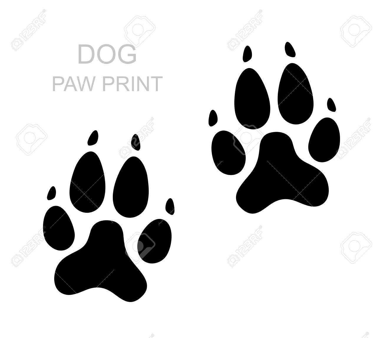 Dog Paw Black Silhouette Foot Print Animal Paw Isolated On