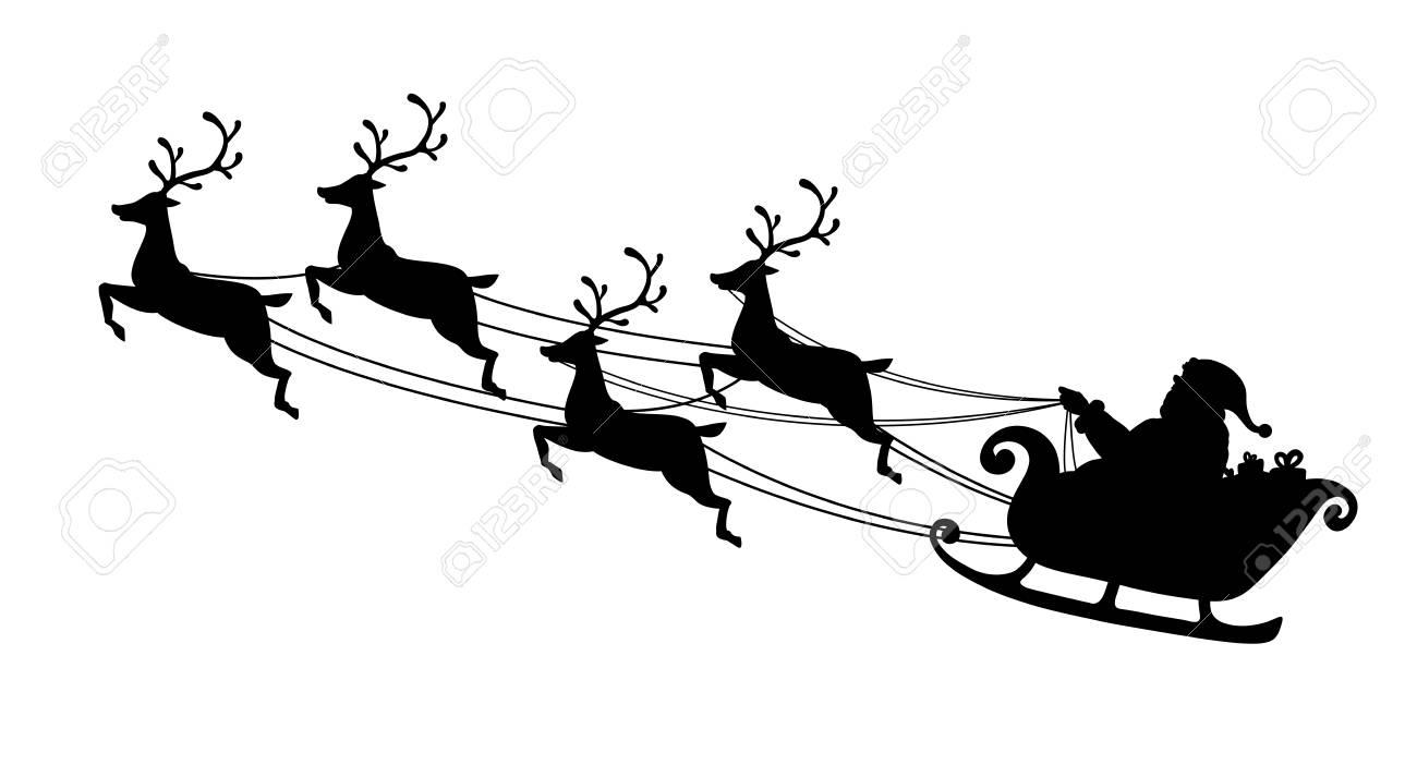 Père Noël Volant Avec Traîneau De Rennes Silhouette Noire Symbole De Noël Et Nouvel An Isolé Sur Fond Blanc Illustration Vectorielle Style De Bande