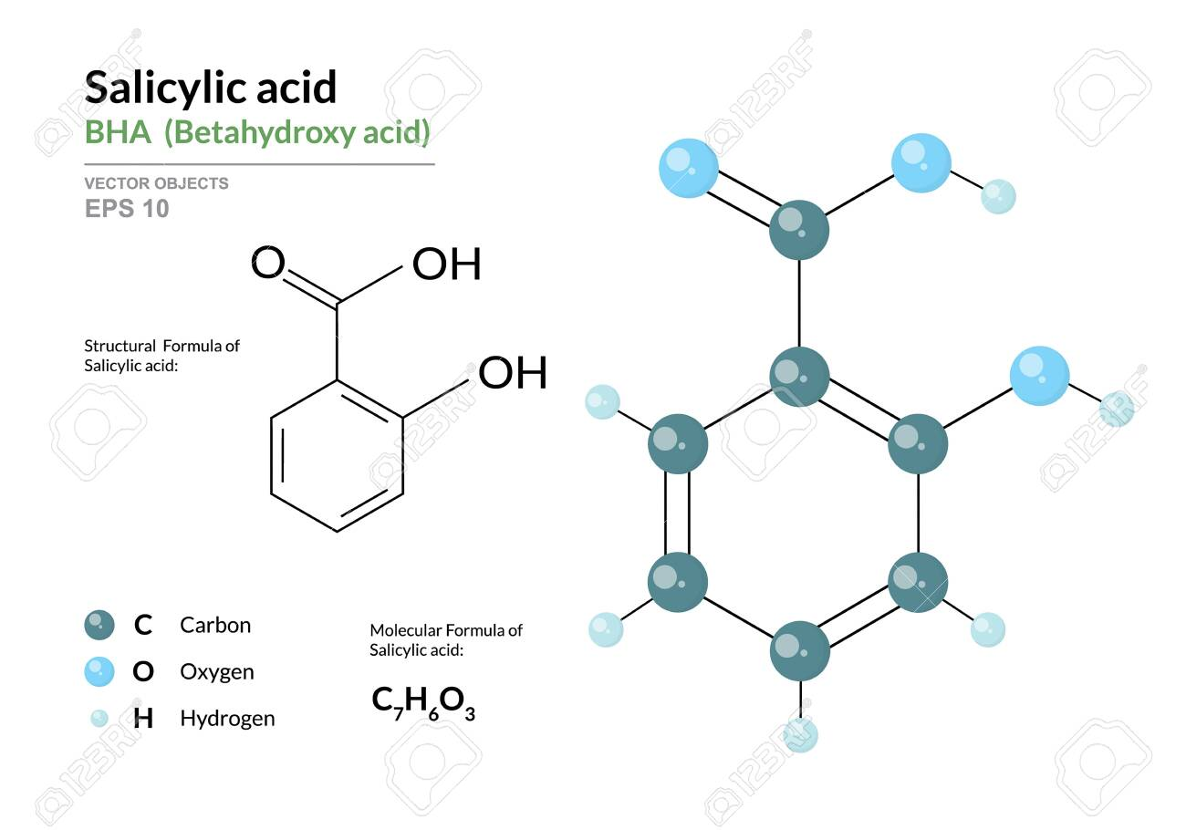 Salicylic acid. BHA Betahydroxy acid. Structural chemical formula and molecule 3d model. Atoms with color coding. Vector illustration - 139266681