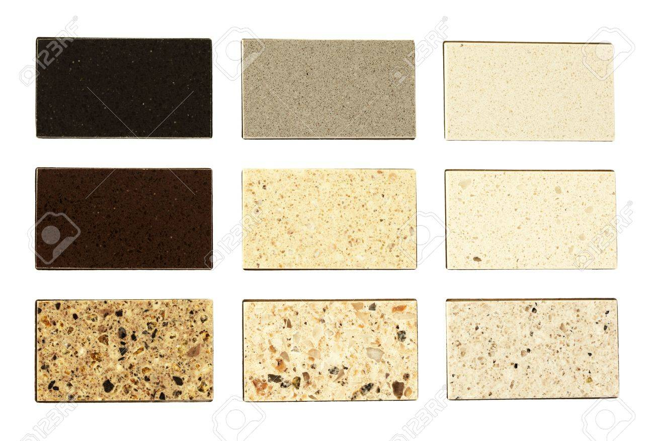 photo stone samples for kitchen countertops over white types of kitchen countertops Stock Photo Stone samples for kitchen countertops over white