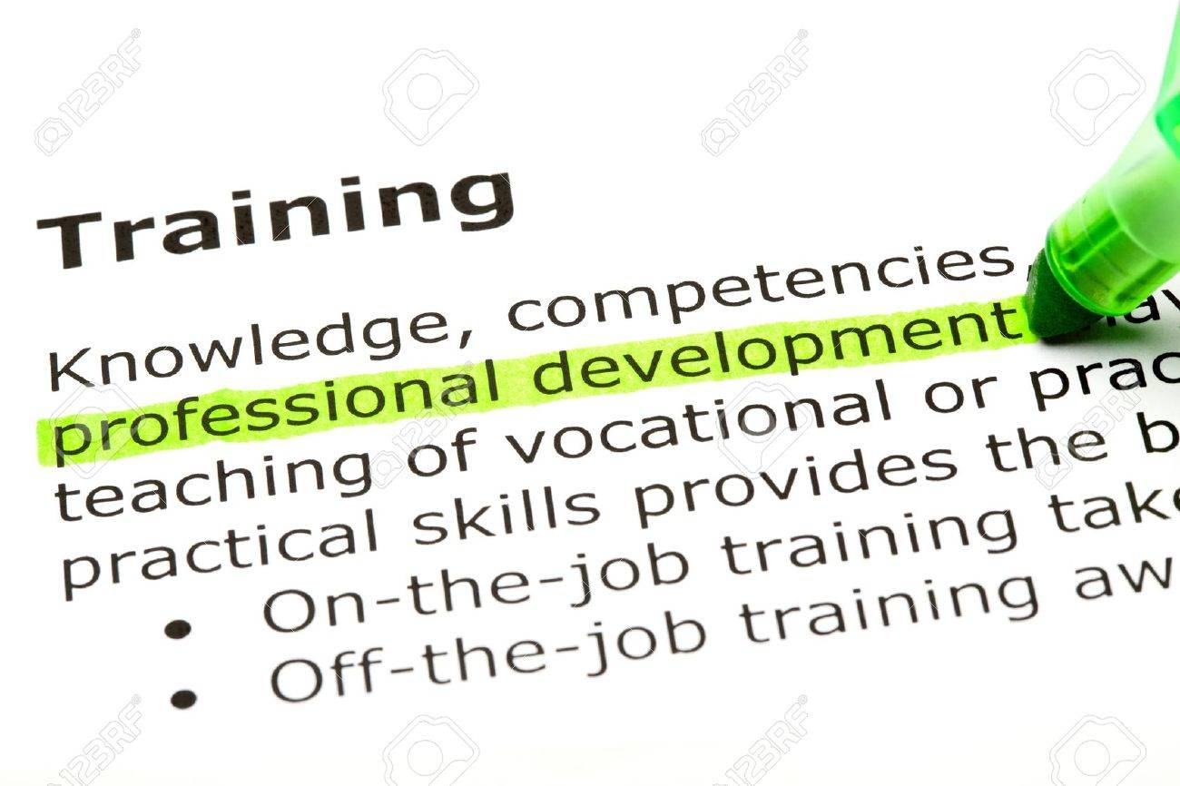 'Professional development' highlighted in green, under the heading 'Training' Stock Photo - 9553417
