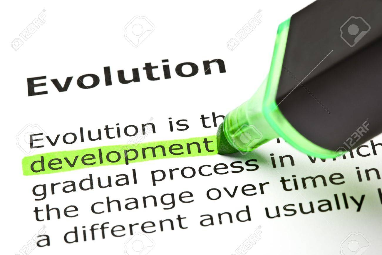 'Development' highlighted in green, under the heading 'Evolution' Stock Photo - 9619024