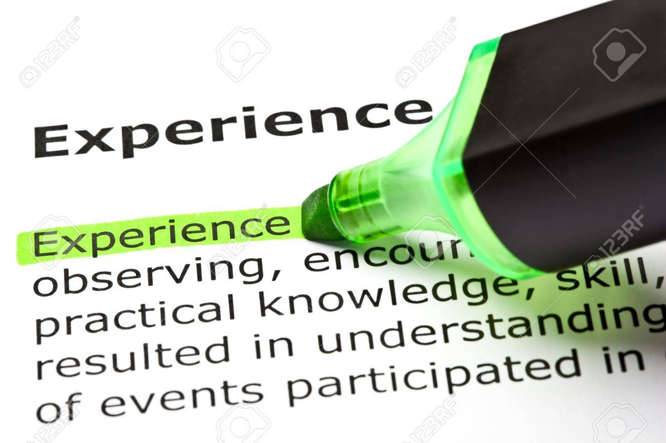 The word 'Experience' highlighted in green with felt tip pen - 9649128
