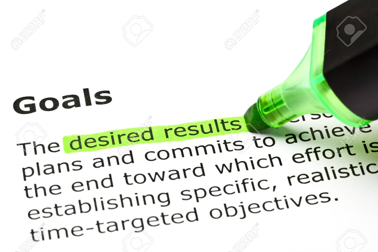 desired results highlighted in green under the heading goals desired results highlighted in green under the heading goals stock photo