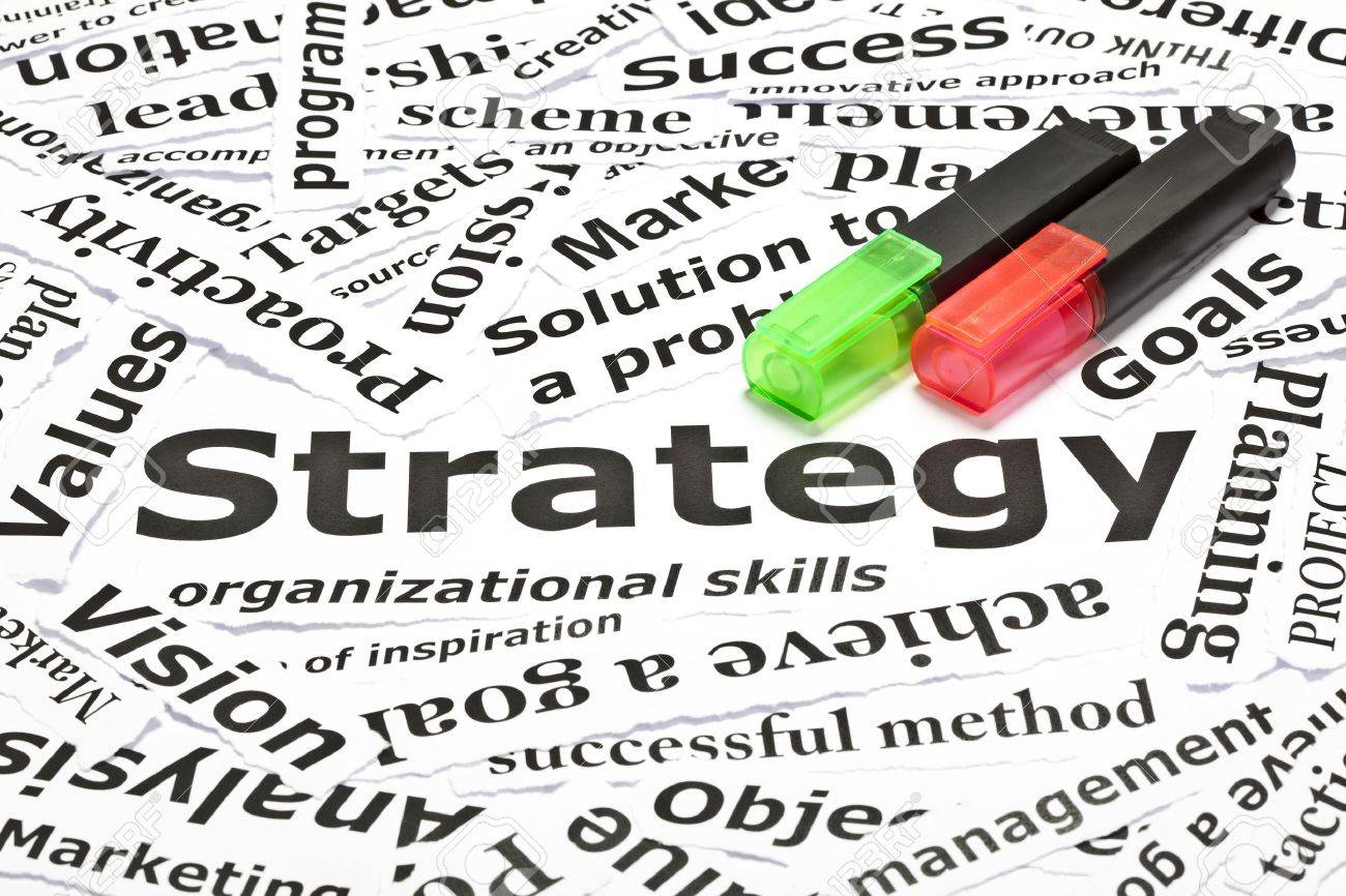 'Strategy' concept with many other related words and two textmarkers Stock Photo - 9722584