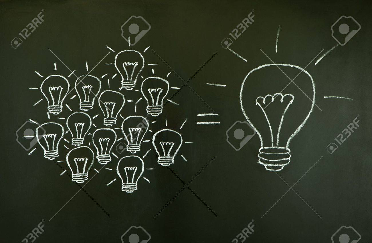 Many small ideas equal a big one, illustrated with chalk drawn light bulbs on a blackboard. Stock Photo - 9947348