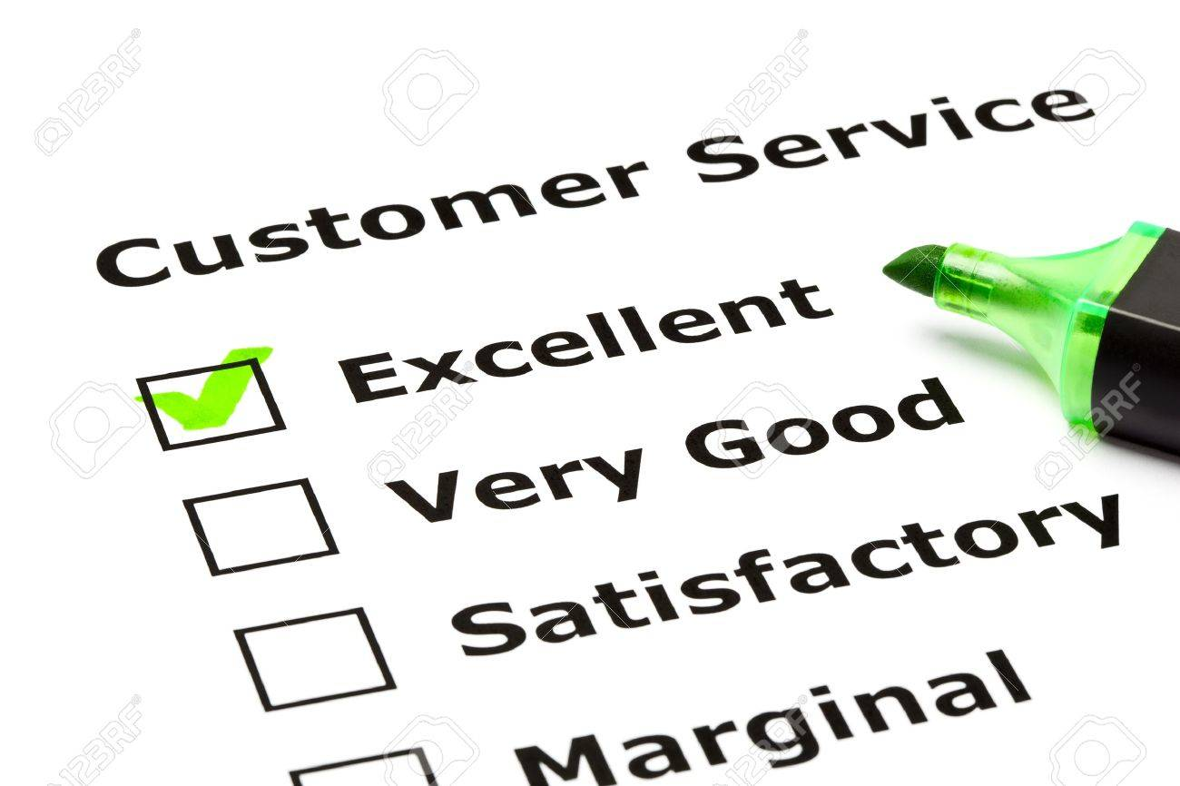customer service evaluation form with green tick on excellent
