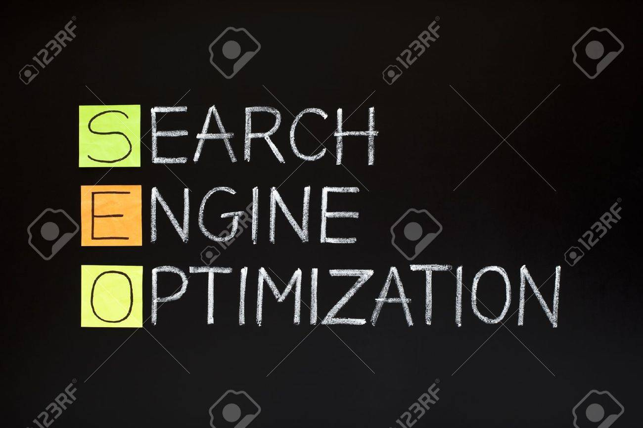SEO acronym - SEARCH ENGINE OPTIMIZATION made with sticky notes and white chalk on a blackboard Stock Photo - 10846847
