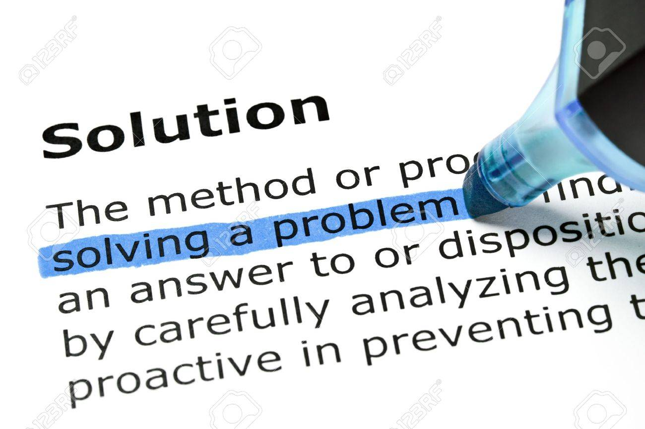 Solving a problem highlighted in blue under the heading Solution Stock Photo - 13181960
