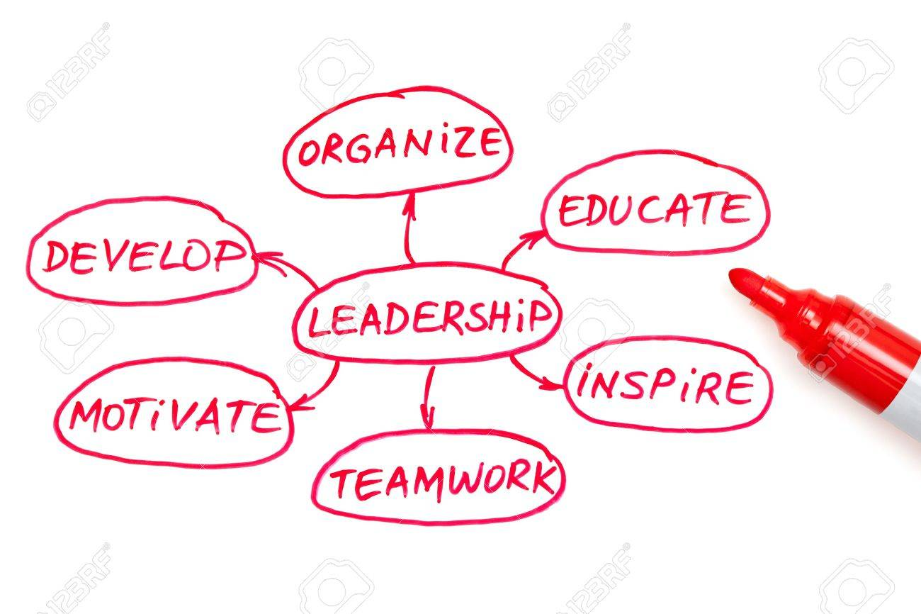 Leadership flow chart written with red marker on white board Stock Photo - 15355269