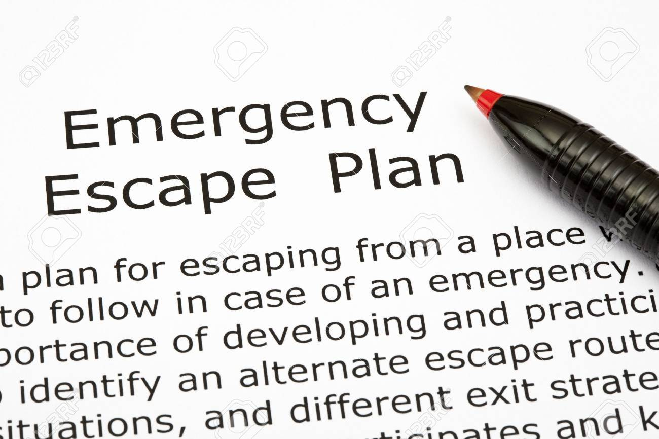 Emergency Escape Plan with red pen Stock Photo - 16538657