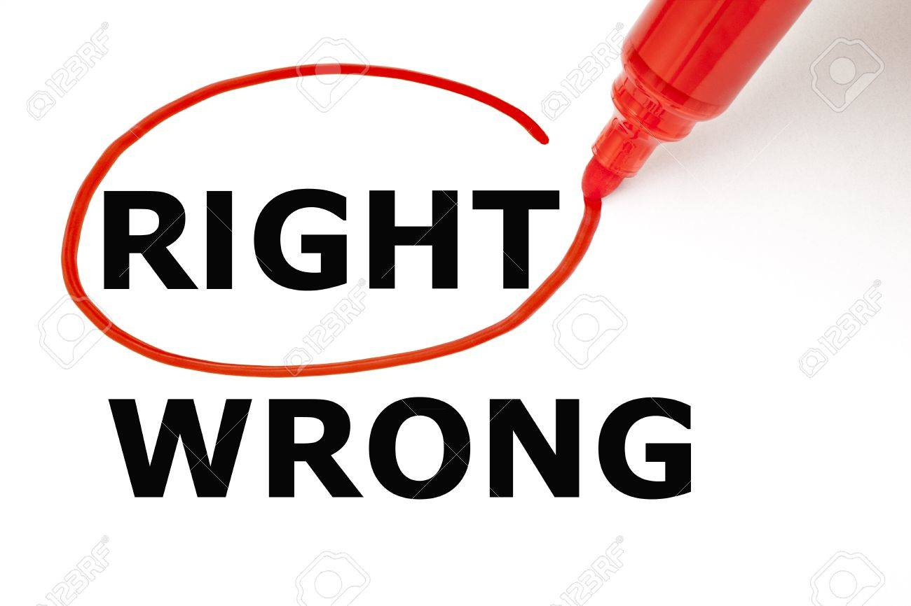Choosing Right instead of Wrong. Right selected with red marker. Stock Photo - 17282802
