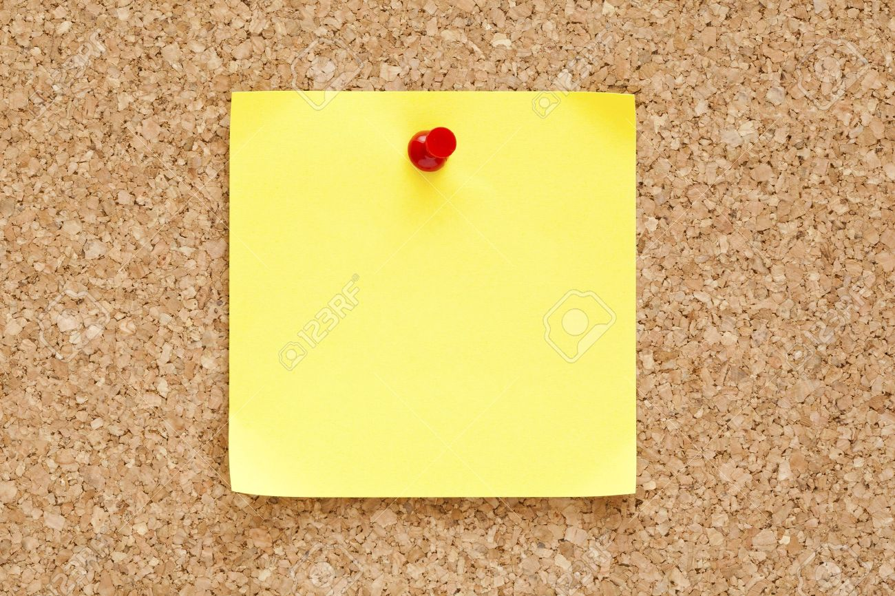 Cork Bulletin Board Blank Yellow Sticky Note Pined On A Cork Bulletin Board Stock