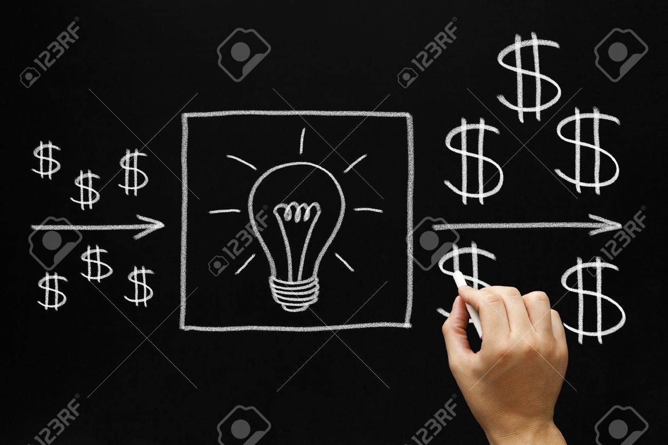 Hand drawing investment concept with white chalk on blackboard. Good ideas are very important to make a good return on investment. Stock Photo - 17668102