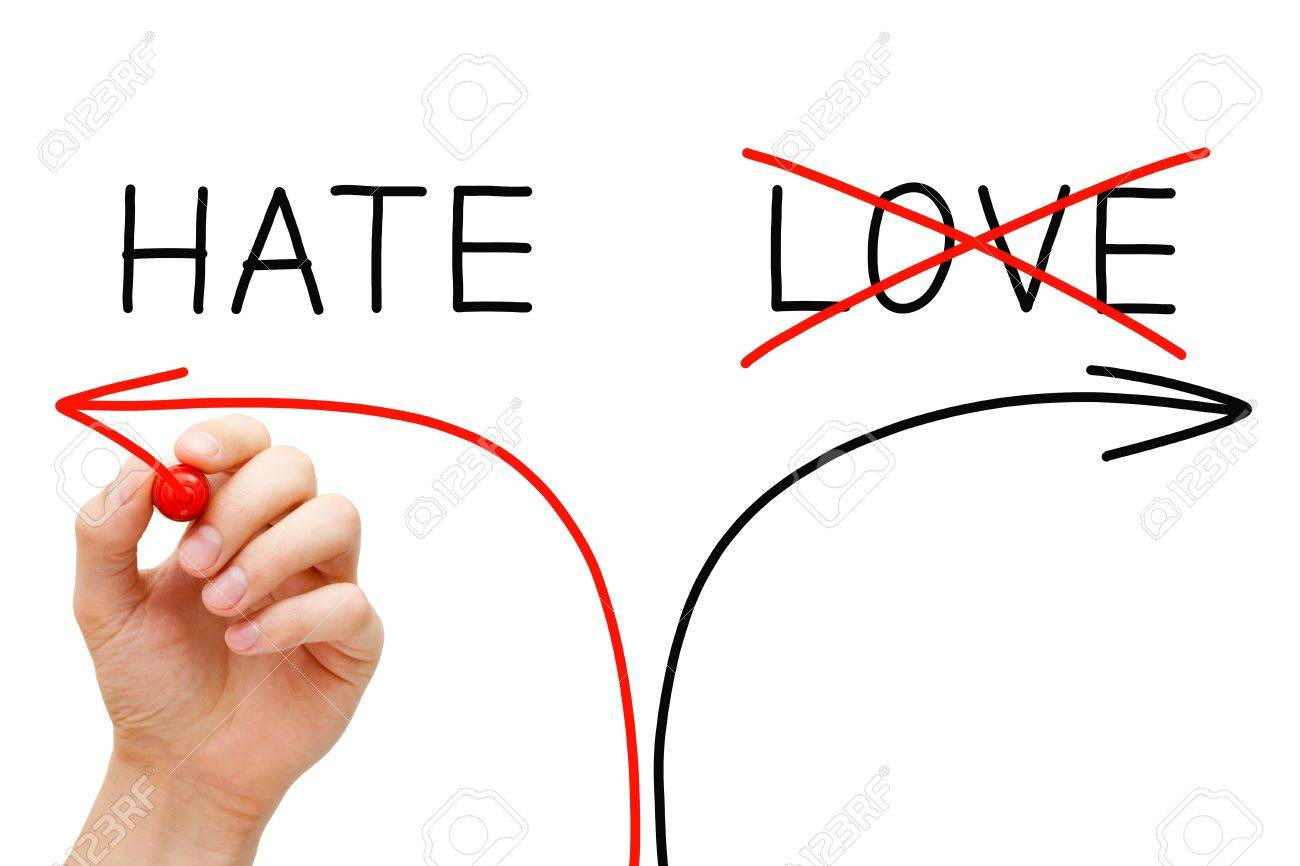 Hand drawing Hate concept with marker on transparent wipe board. Choosing Hate instead of Love. Stock Photo - 18012038