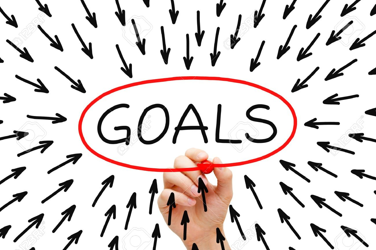 Hand drawing Goals concept with red marker on transparent wipe board. Stock Photo - 18306850