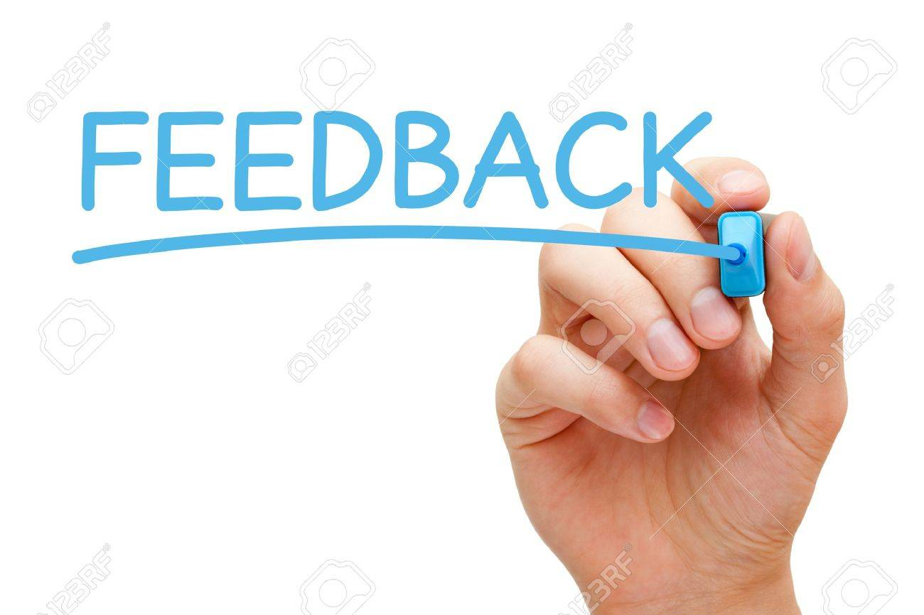 Hand writing Feedback with blue marker on transparent wipe board. Stock Photo - 18365256