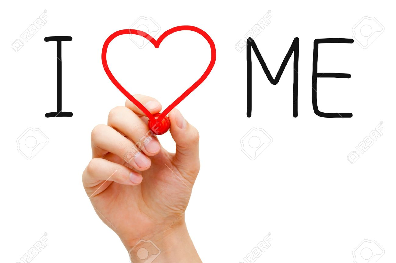 Hand writing I Love Me with red marker on transparent wipe board. Stock Photo - 18959333