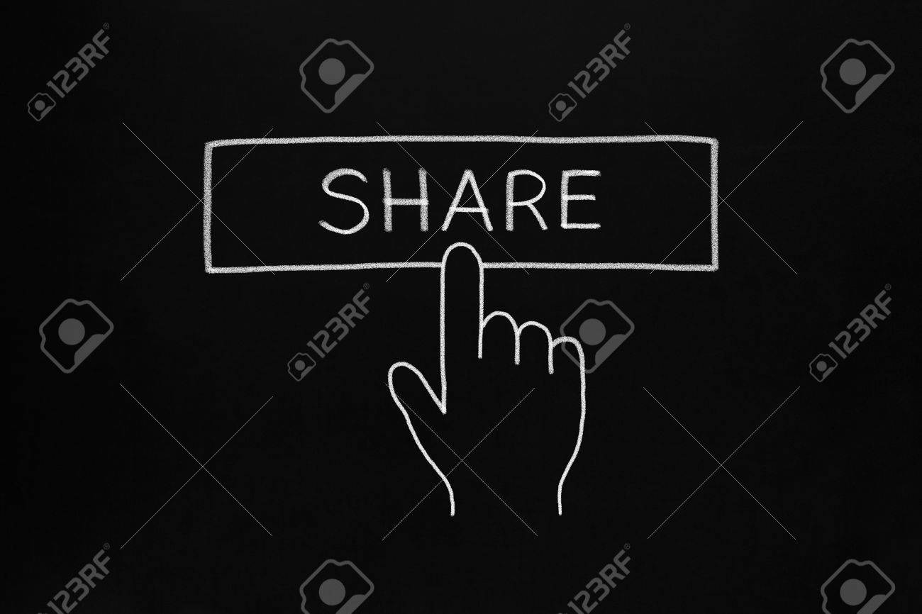 Hand clicking Share button drawn with white chalk on blackboard. Stock Photo - 19408627