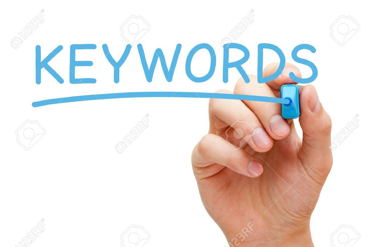 Hand writing Keywords with blue marker on transparent wipe board. Stock Photo - 22110575