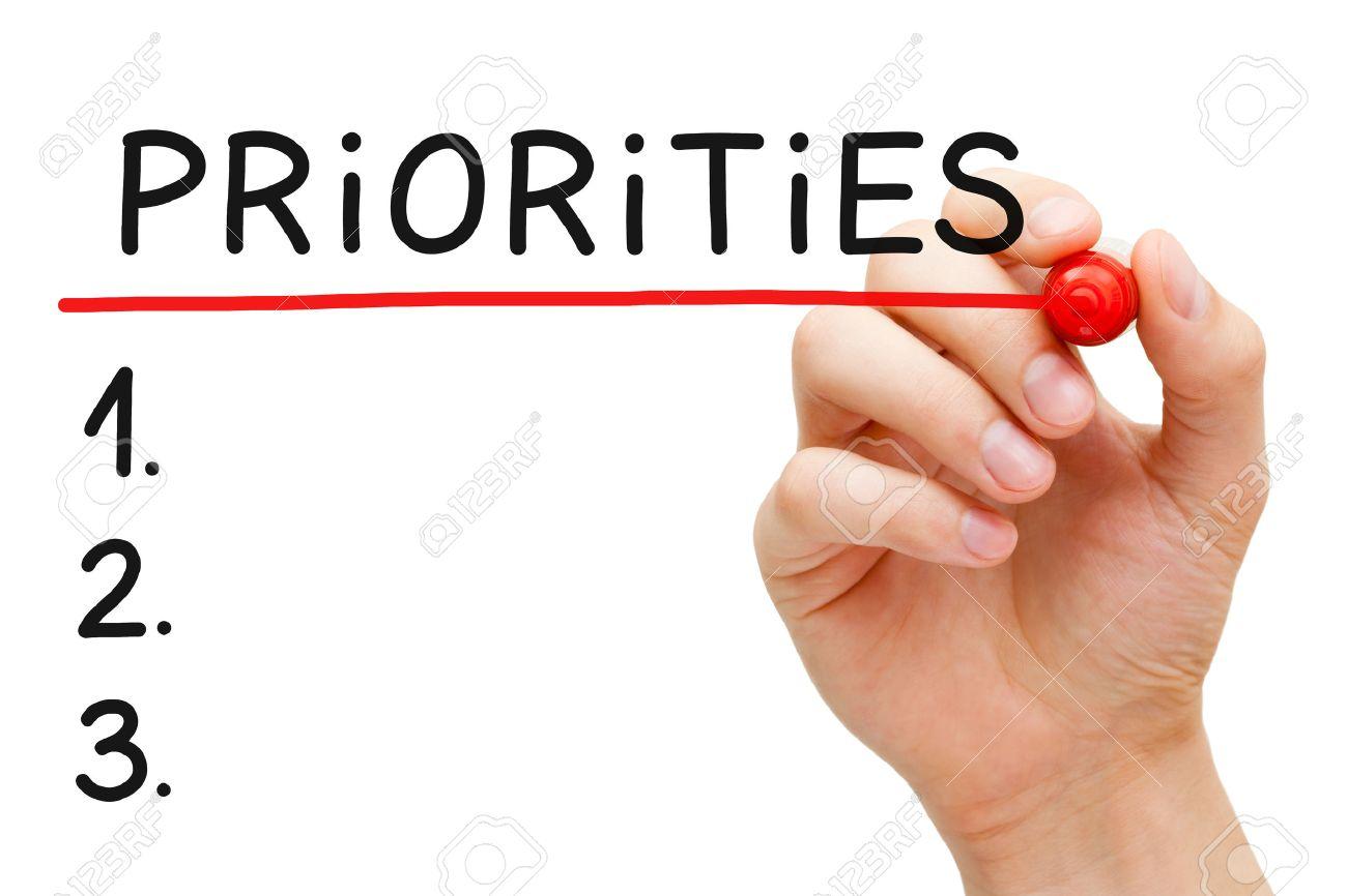 Priority List Hand Writing Priorities List