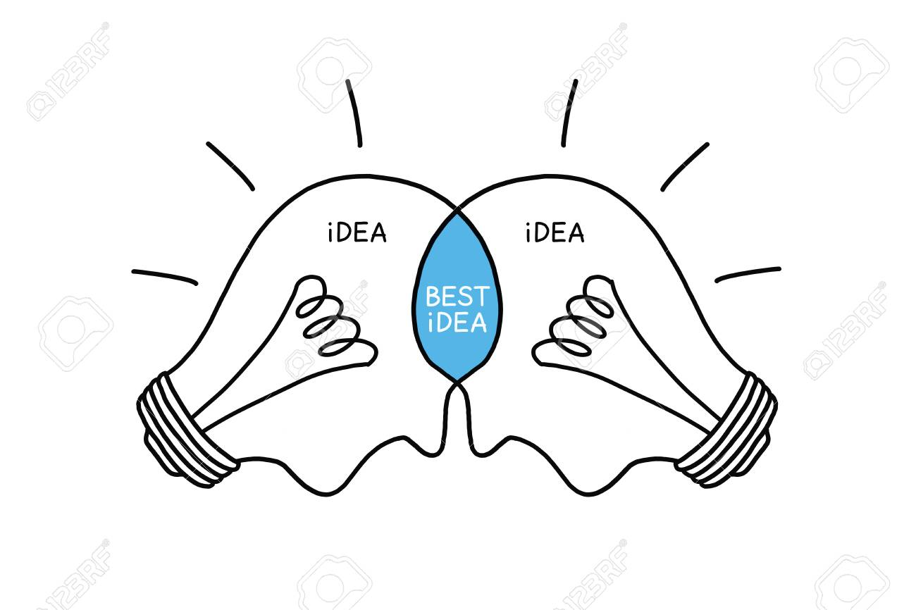 best idea light bulbs concept hand drawn with black marker on