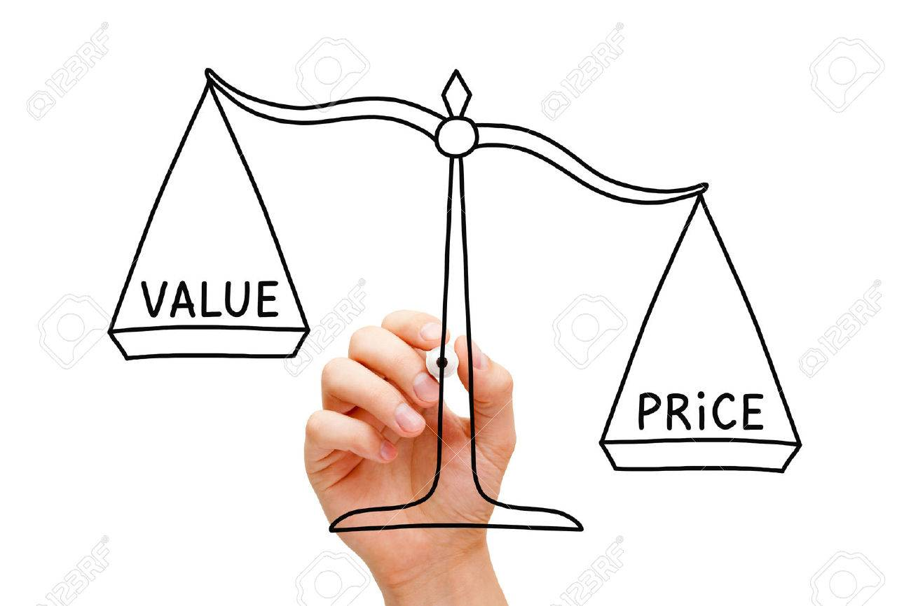 Hand drawing Price Value scale concept with black marker on transparent wipe board isolated on white. - 36857045