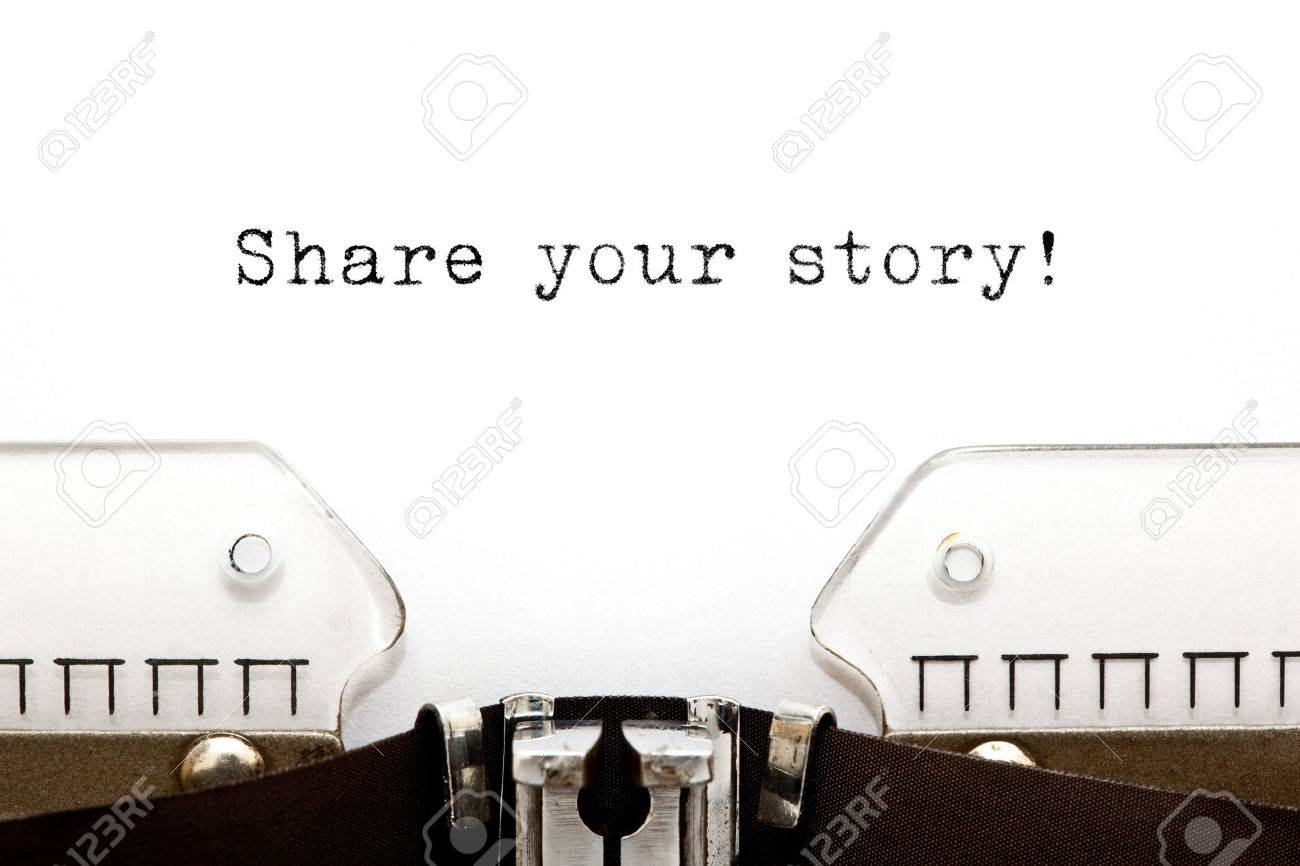 Share Your Story typed on a old typewriter. - 37040954