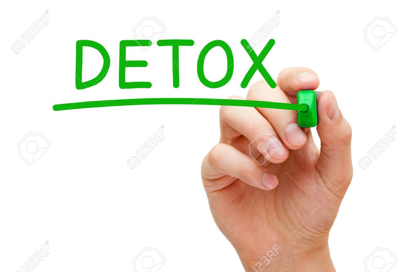 Hand writing Detox with green marker on transparent wipe board. - 38251205