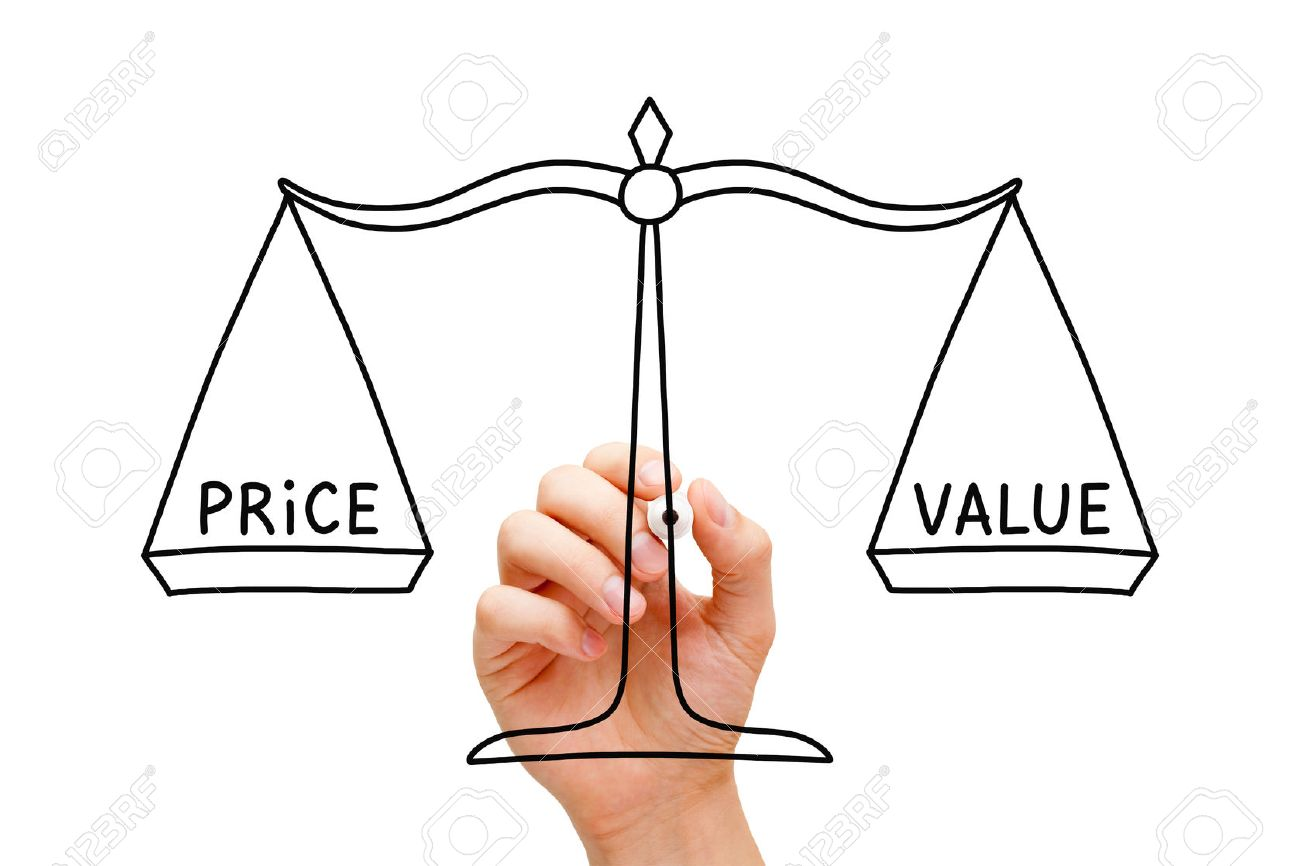 Hand drawing Price Value balance scale concept with black marker on transparent wipe board isolated on white. - 38332211
