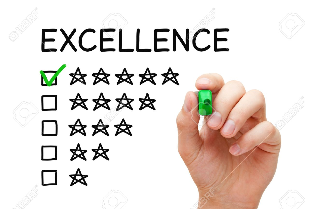 Hand putting check mark with green marker on Excellence five star rating. - 40372270