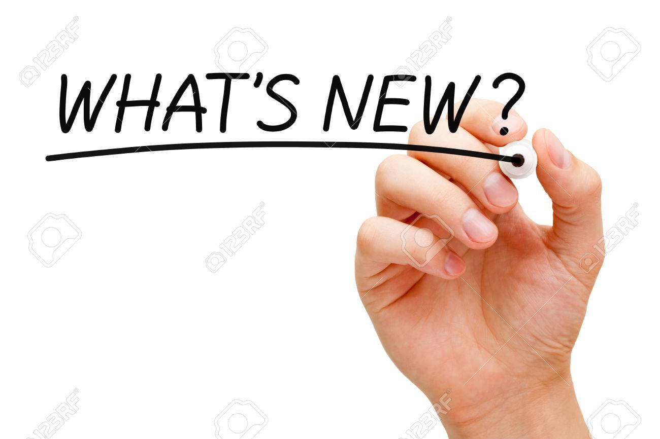 Hand writing What's New? with black marker on transparent wipe board. - 48965094