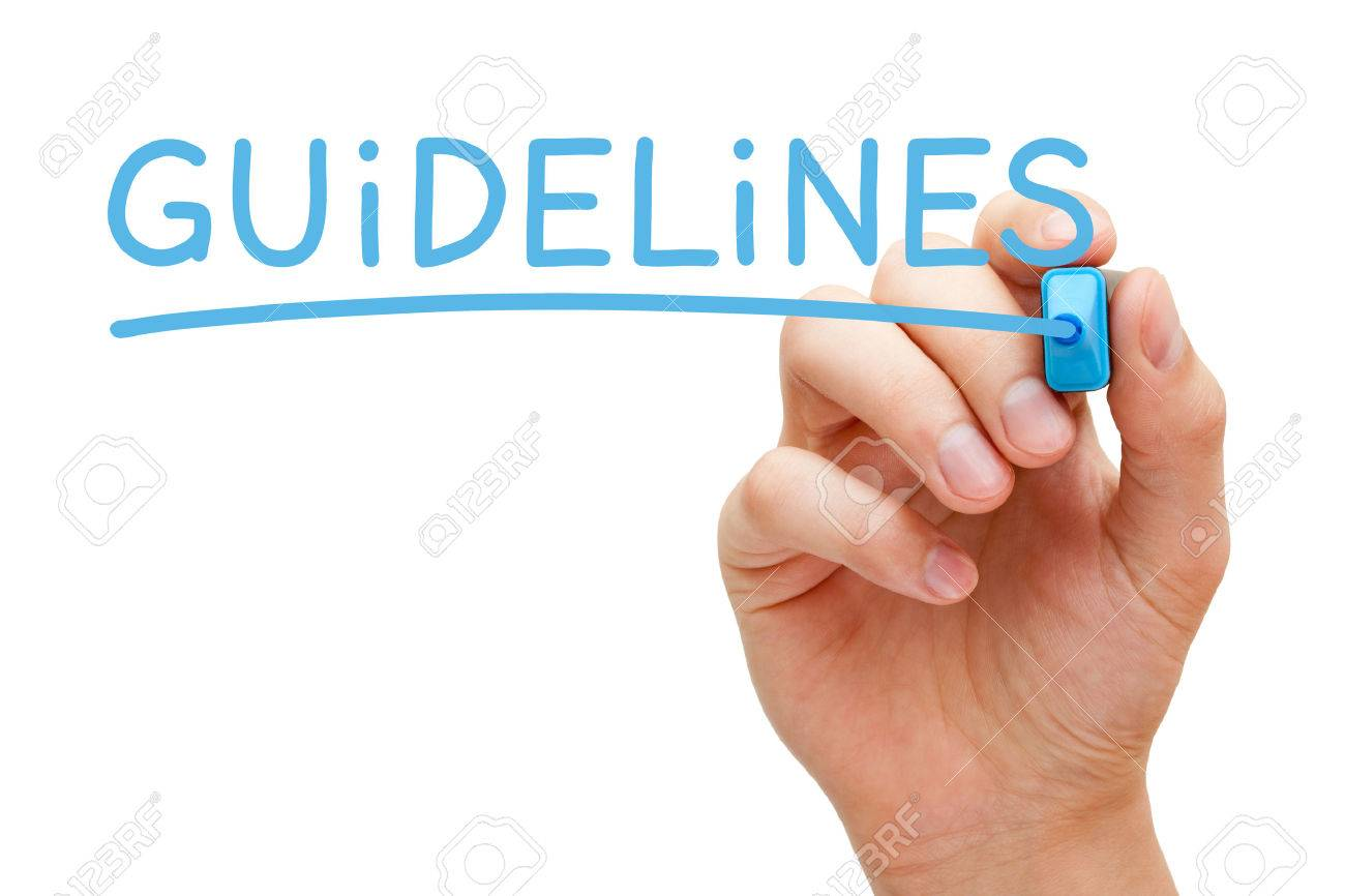 Hand writing Guidelines with blue marker on transparent wipe board. - 50796534