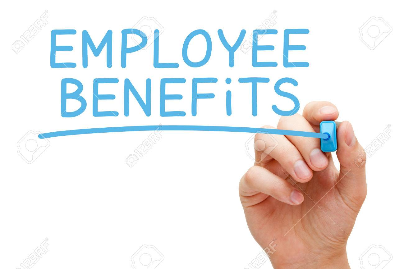 Hand writing Employee Benefits with blue marker on transparent wipe board isolated on white. - 51173645