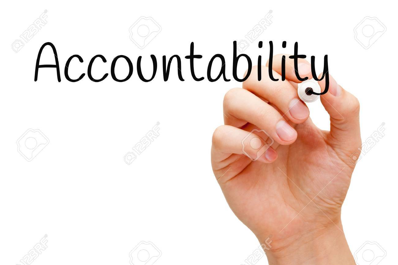 Hand writing Accountability with black marker on transparent wipe board. - 51352896