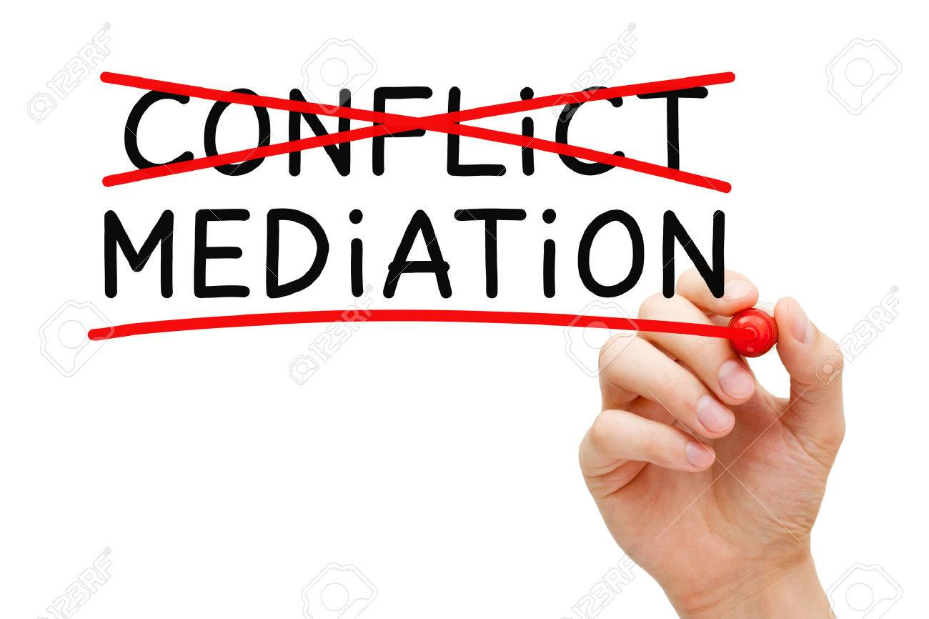 Hand writing Mediation concept with marker on transparent wipe board. Mediation - to resolve or settle differences by working with all the conflicting parties. - 51865664