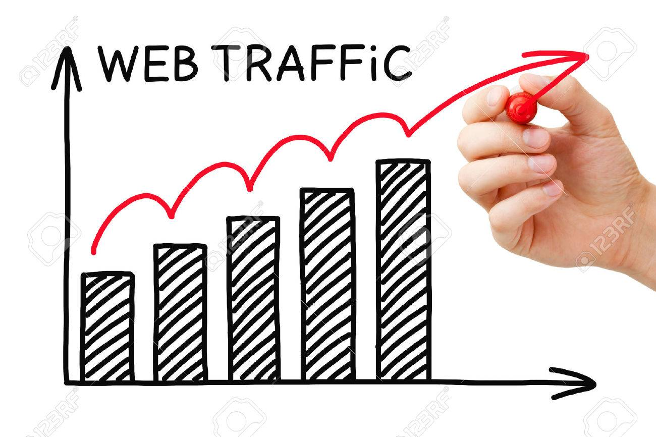 Hand drawing Web Traffic graph concept with marker on transparent wipe board. - 57363160