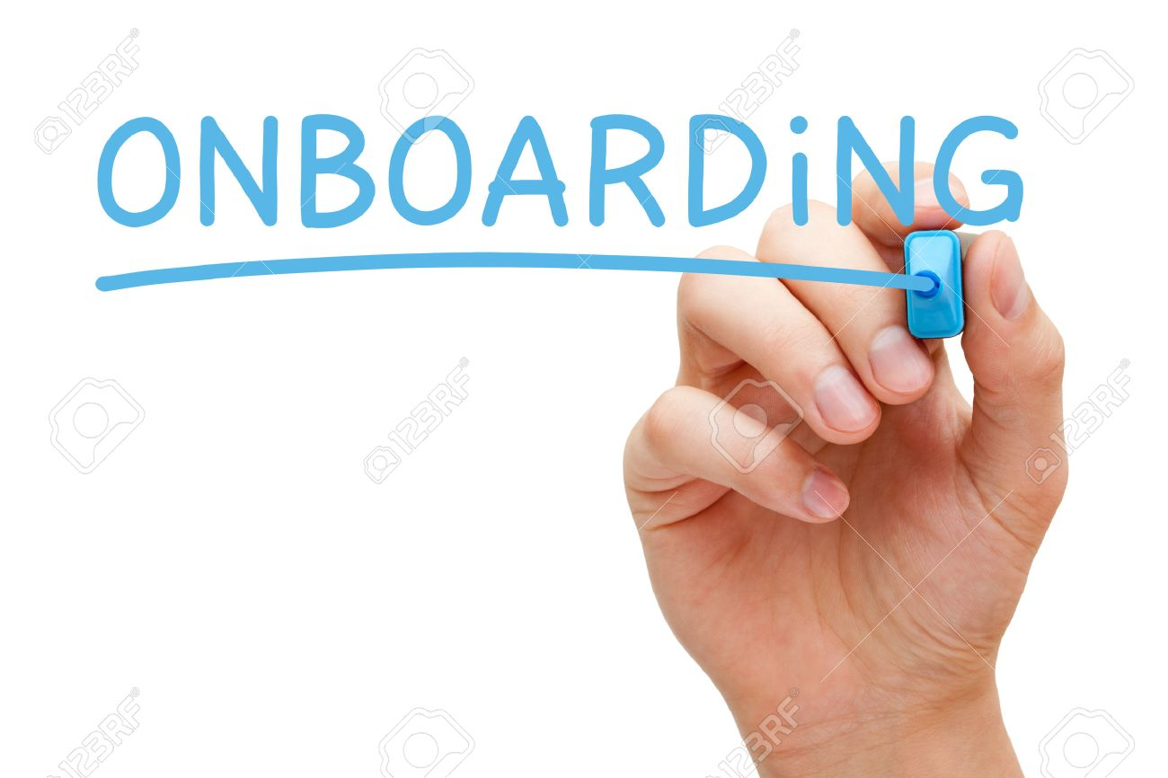 Hand writing Onboarding with blue marker on transparent wipe board isolated on white. - 57797572