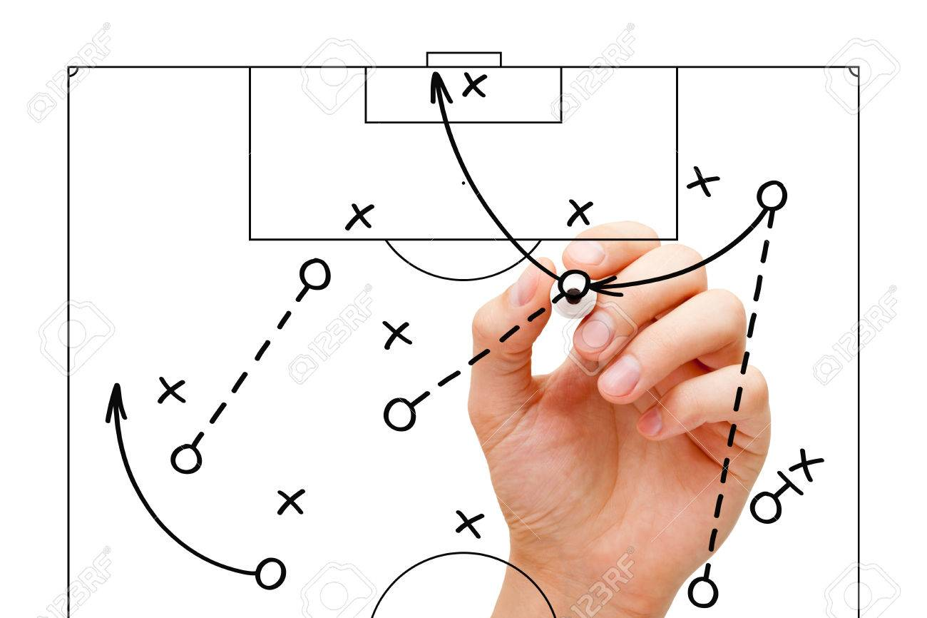 Coach Sketching A Football Game Strategy With Marker On Transparent