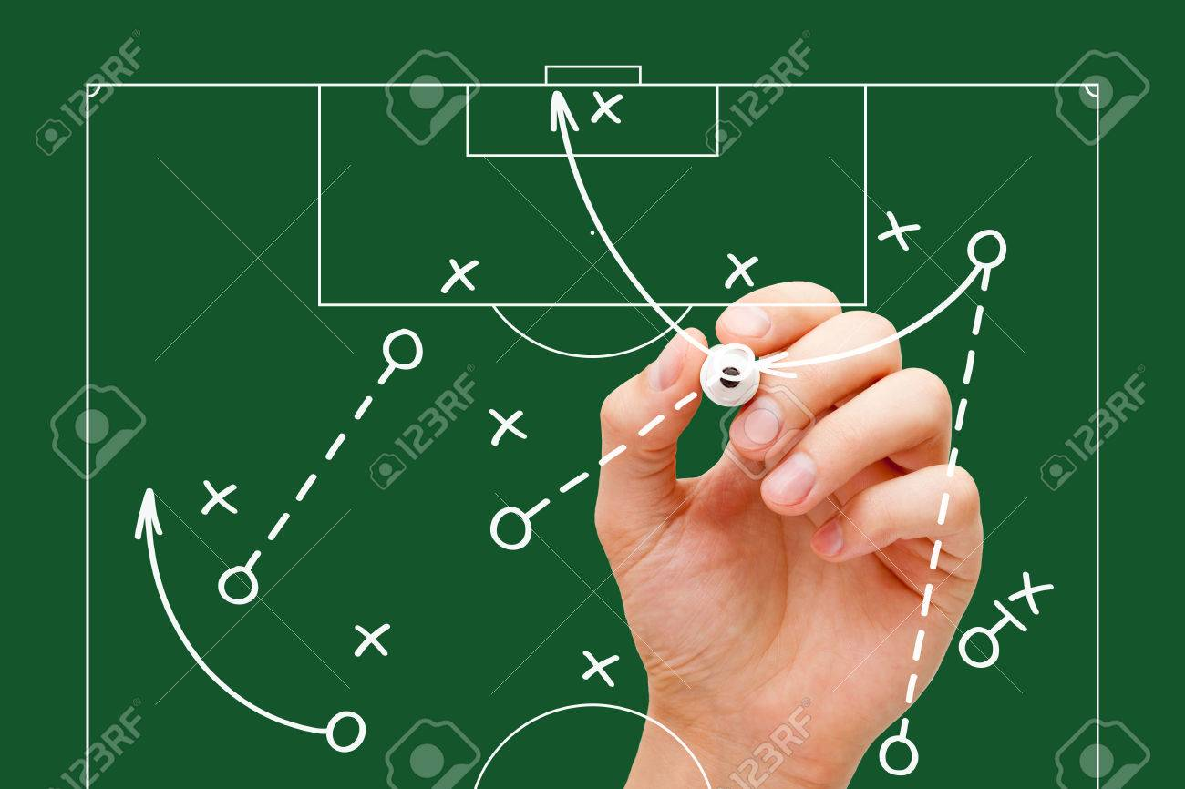Manager drawing soccer game tactics with white marker on transparent wipe board over green background. Football coach explaining game strategy. - 60695593