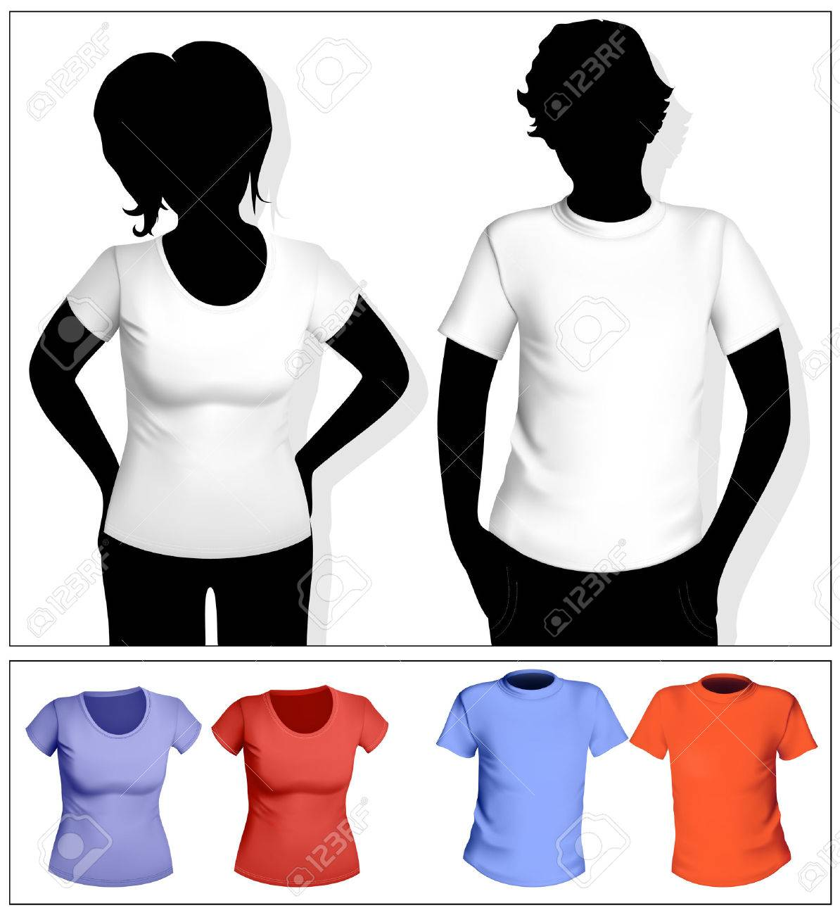 Women's and men's t-shirt template with human body silhouette. White and color. Stock Vector - 6585497