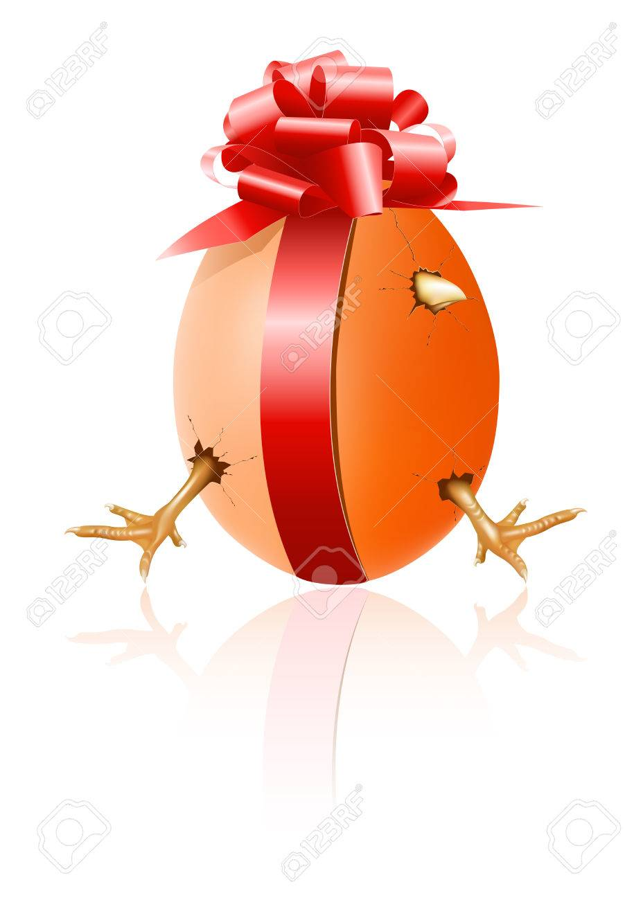 Hen's egg with chicken inside and red gift bow. Happy Easter! Stock Vector - 6585490