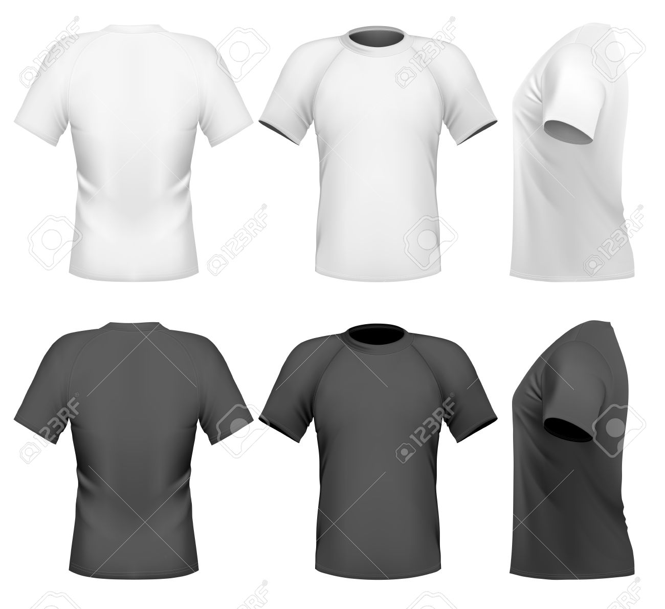 Mens T Shirt Design Template Front Back And Side View