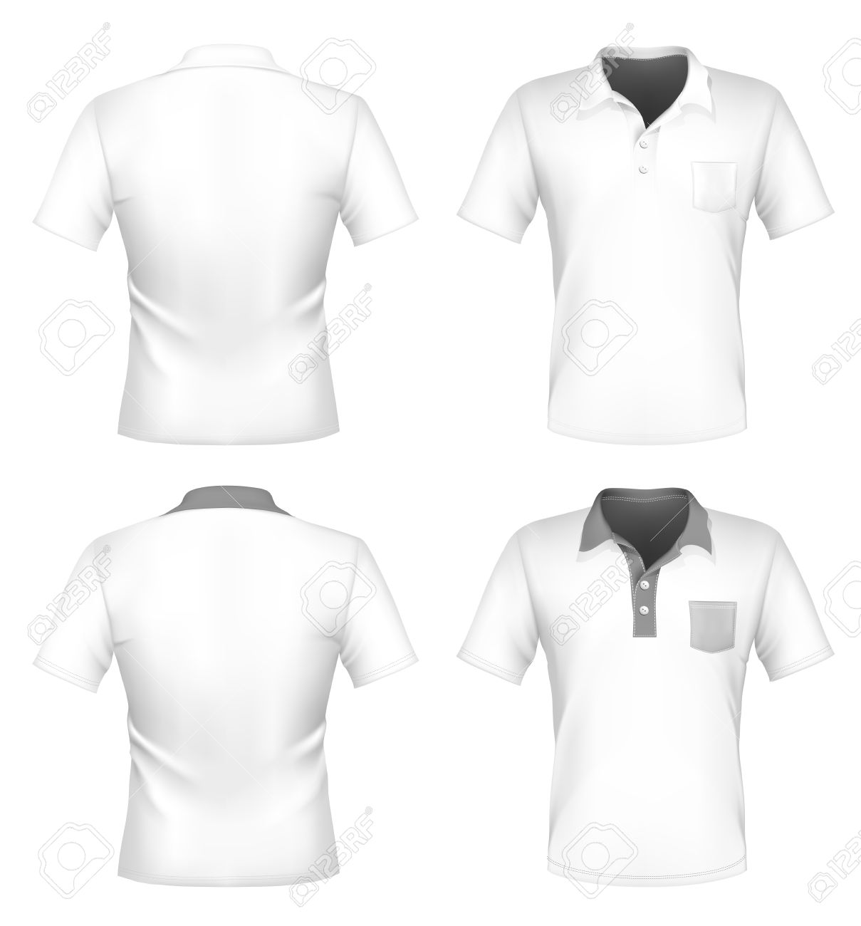 Vector Mens Polo Shirt Design Template With Pocket Front