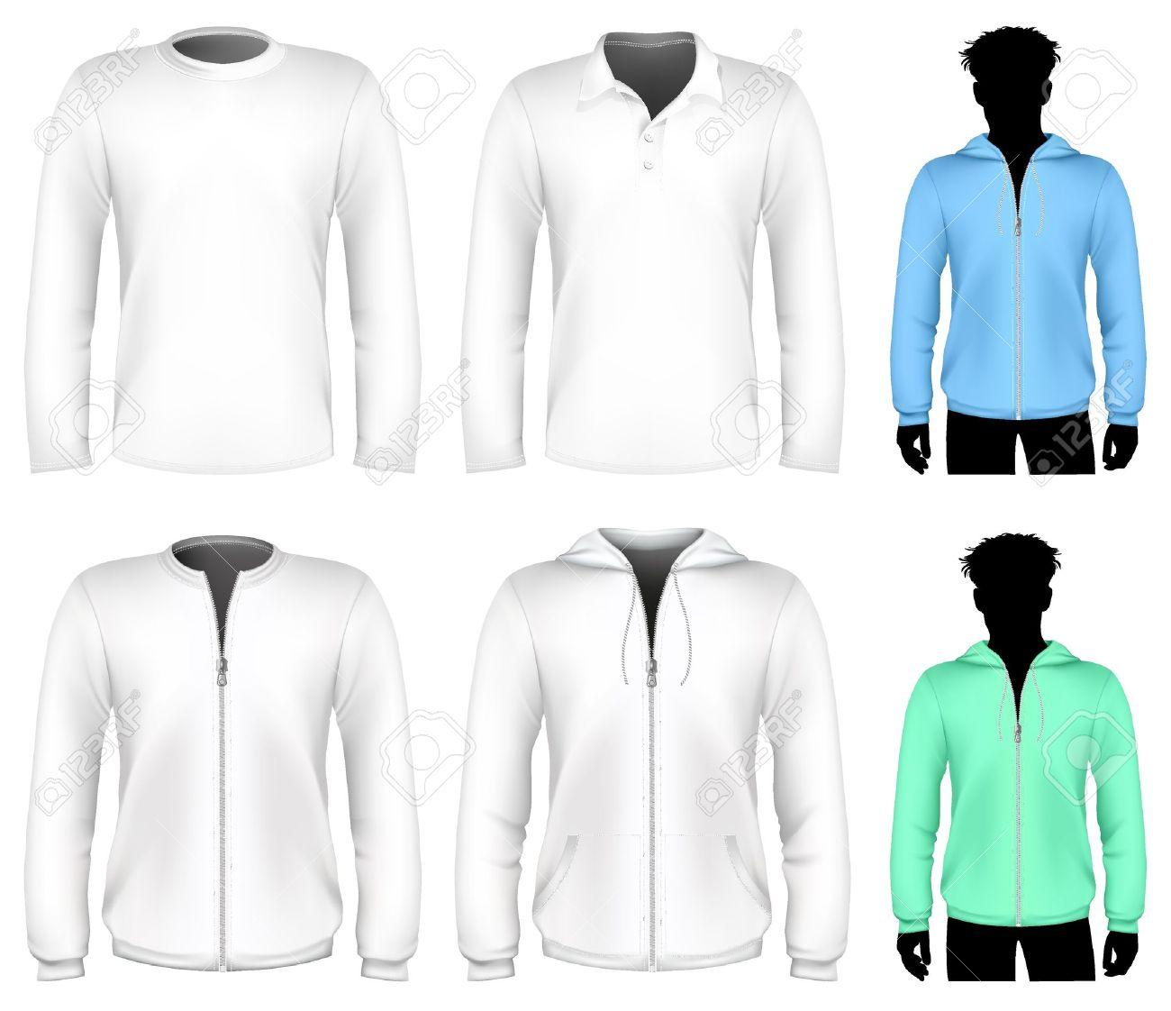 Shirt hoodie design - Vector T Shirt Polo Shirt And Sweatshirt Design Template Long Sleeve Stock