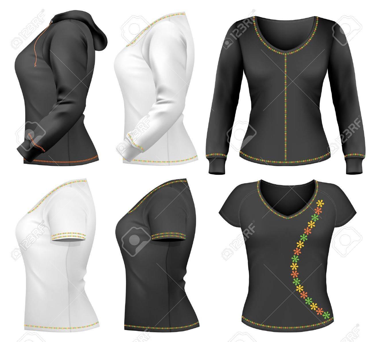 Colección De Vectores Mujer Camiseta Diseño Plantilla. Ilustraciones ...