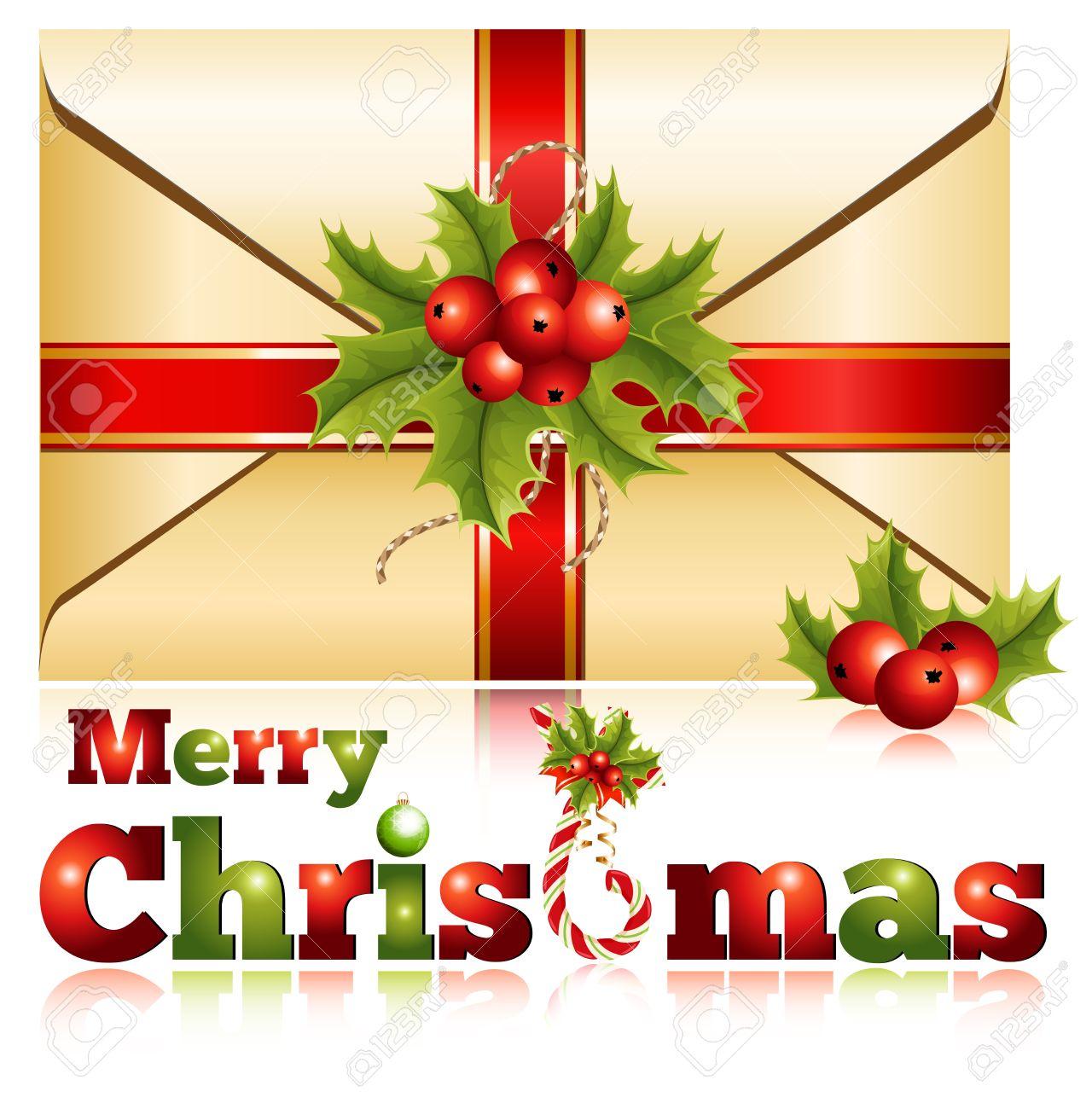 Vecteur Décoration De Noël Enveloppe Cadeau Avec Holly Clip Art