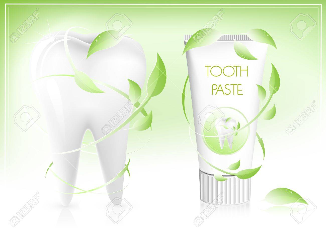 Vector illustration. Toothpaste with leaves. Stock Vector - 10053334