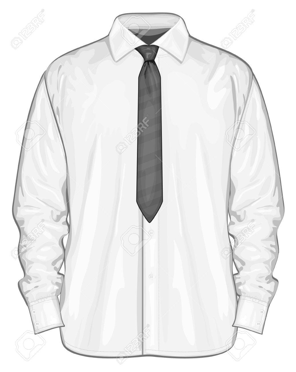 vector illustration of dress shirt button down with neckties