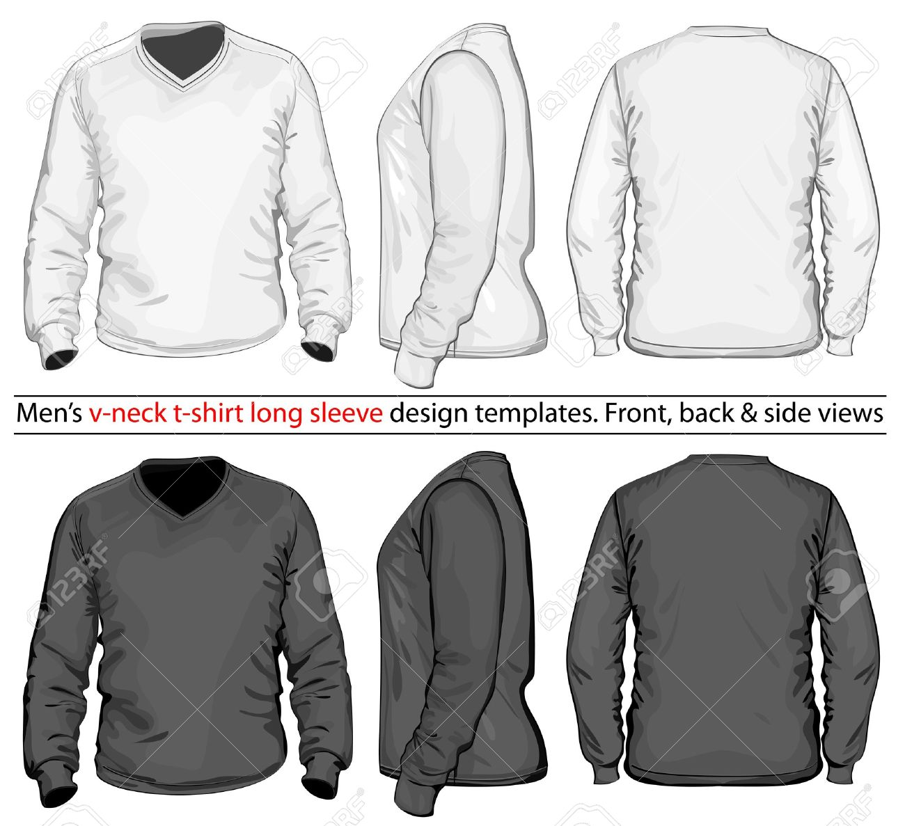 vector men s v neck long sleeve t shirt design template front